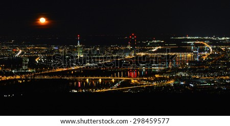 Vienna, Austria - April 5, 2015: shot over Vienna at night, April 5th, 2015