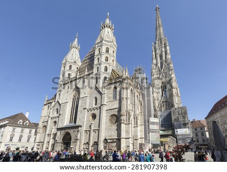 VIENNA, AUSTRIA - APRIL 29, 2015: St. Stephens Cathedral and surrounding houses on Stephansplatz - stock photo