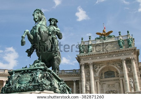 VIENNA, AUSTRIA - APRIL 22, 2010: Statue of Prince Eugene in front of Hofburg Palace, Vienna, Austria - stock photo
