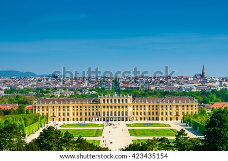 VIENNA, AUSTRIA - APRIL 23, 2016: View above at Schonbrunn Palace  - stock photo