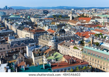 Vienna. Austria. Architecture cityscape of top view of the city
