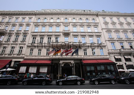 VIENNA, AUSTRIA - AUG 2, 2014: The exterior of the Hotel Sacher in Vienna, Austria, on August 2, 2014. - stock photo