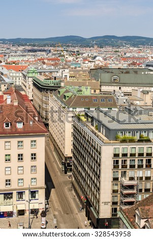 VIENNA, AUSTRIA - AUGUST 10, 2015: Aerial View Of Vienna City Skyline From The Most Prominent Building, The Stephansdom, Vienna's cathedral.