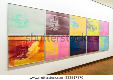 VIENNA, AUSTRIA - AUGUST 20, 2015: Andy Warhol Electric Chair Paintings At Albertina Museum. Andy Warhol was an American artist who was a leading figure in visual art movement known as pop art. - stock photo