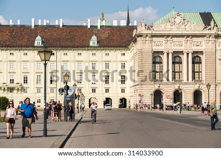 VIENNA, AUSTRIA - AUGUST 06, 2015: Built in the 13th century Hofburg Palace is the former imperial palace in the centre of Vienna and is the official residence and workplace of President of Austria.