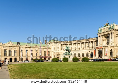 VIENNA, AUSTRIA - AUGUST 20, 2015: Built in the 13th century Hofburg Palace is the former imperial palace in the centre of Vienna and is the official residence and workplace of President of Austria. - stock photo