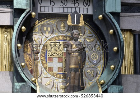 VIENNA, AUSTRIA - AUGUST 07, 2011: Detail of the figures and part of the Ankeruhr clock mechanism, in the area of Hoher market