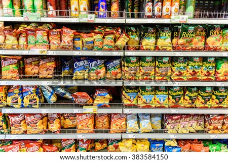 VIENNA, AUSTRIA - AUGUST 11, 2015: Fast Food Snacks For Sale On Supermarket Shelf. - stock photo