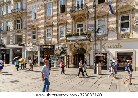 VIENNA, AUSTRIA - AUGUST 10, 2015: Graben is one of the most famous streets in Vienna's first district (city centre) and one of the most important promenades and shopping streets in Vienna.