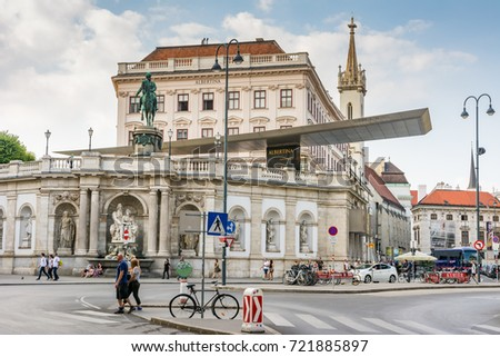 VIENNA, AUSTRIA - AUGUST 28:  People at the Albertina museum in Vienna, Austria on August 28, 2017. The museum houses one of the largest and most important print rooms in the world.