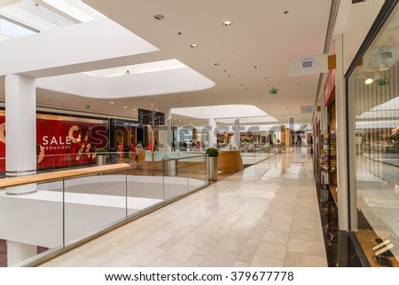 VIENNA, AUSTRIA - AUGUST 10, 2015: People Shop In Shopping City Sud Luxury Mall The Biggest Shopping Mall In Austria.