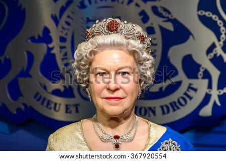 VIENNA, AUSTRIA - AUGUST 08, 2015: Queen Elizabeth II Figurine At Madame Tussauds Wax Museum. - stock photo