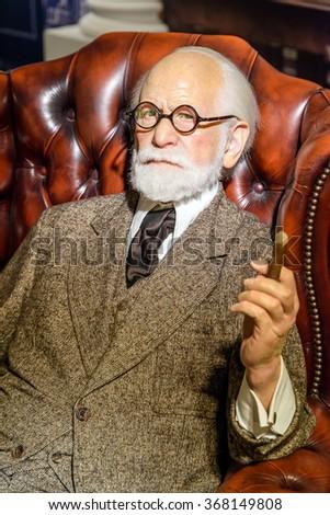 VIENNA, AUSTRIA - AUGUST 08, 2015: Sigmund Freud Figurine At Madame Tussauds Wax Museum. - stock photo