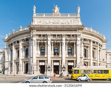 VIENNA, AUSTRIA - AUGUST 05, 2015: The Burgtheater (Imperial Court Theater) is the Austrian National Theatre in Vienna and one of the most important German language theatres in the world. - stock photo
