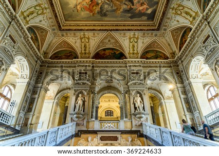 VIENNA, AUSTRIA - AUGUST 10, 2015: The Museum of Natural History (Naturhistorisches Museum) Is The Largest And Oldest Natural History Museum In Vienna.