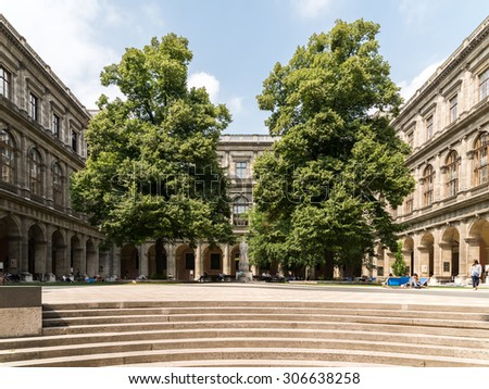 VIENNA, AUSTRIA - AUGUST 03, 2015: The University of Vienna (Universitat Wien) is a public university founded by Duke Rudolph IV in 1365 and is the oldest university in the German-speaking world. - stock photo