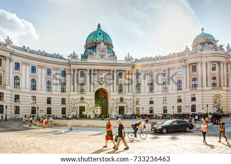 VIENNA, AUSTRIA - AUGUST 28: Tourists at the famous imperial Hofburg palace in Vienna, Austria on August 28, 2017.