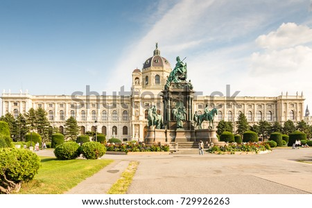 VIENNA, AUSTRIA - AUGUST 28: Tourists at the Maria Theresia monument and the art history museum at the Maria-Theresien-Platz square in Vienna, Austria on August 28, 2017.