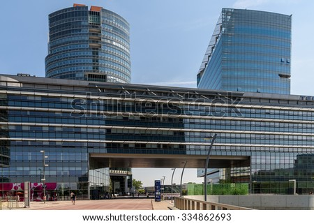 VIENNA, AUSTRIA - AUGUST 20, 2015: Unisys Andromeda Tower And Tech Gate Tower Skyscraper In The Donaucity District Of Vienna City.