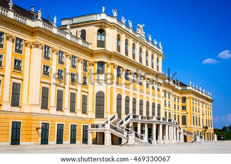 VIENNA, AUSTRIA - 4 AUGUST 2015: Vienna, Austria. Schonbrunn Palace in Wien. It's a former imperial 1,441-room Rococo summer residence in modern Austrian capital city.