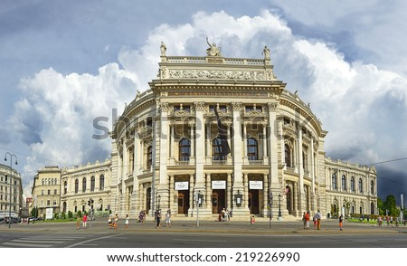 VIENNA, AUSTRIA - AUGUST 9: Vienna City theater - Burgtheater on August 9, 2014. The most famous stage in German-speaking world. The historic center of Vienna is UNESCO World Heritage Site - stock photo