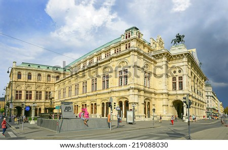 VIENNA, AUSTRIA - AUGUST 9: Vienna's State Opera House on August 9, 2014. The historic center of Vienna is UNESCO World Heritage Site - stock photo