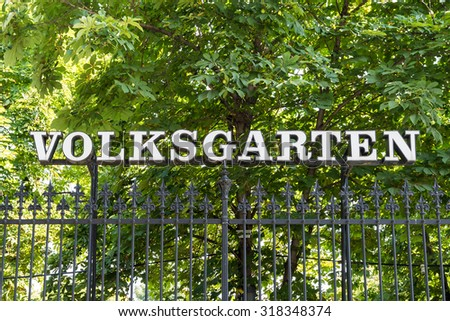 VIENNA, AUSTRIA - AUGUST 08, 2015: Volksgarten (People's Garden) is a public park which is part of the Hofburg Palace in the Innere Stadt district of Vienna and was opened to the public in 1823.