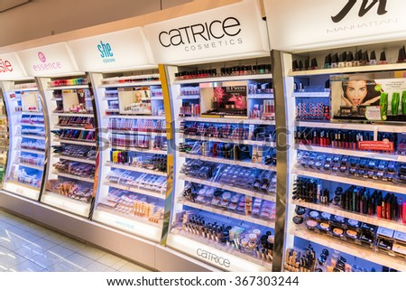 VIENNA, AUSTRIA - AUGUST 08, 2015: Women Cosmetic Products For Sale In Beauty Shop. - stock photo