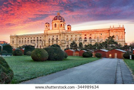 Vienna, Austria. Beautiful view of famous Kunsthistorisches - Fine Arts Museum - stock photo