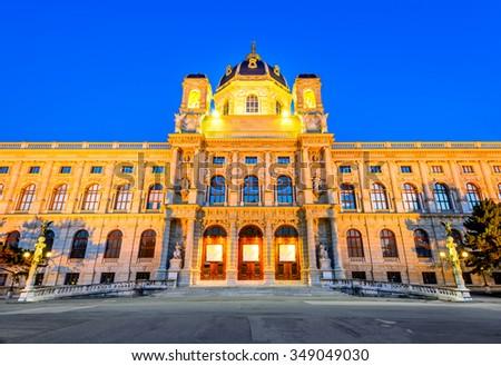 Vienna, Austria. Beautiful view of famous Kunsthistorisches (Fine Arts Museum) with park Maria-Theresien-Platz and sculpture in Vienna, Austria. - stock photo