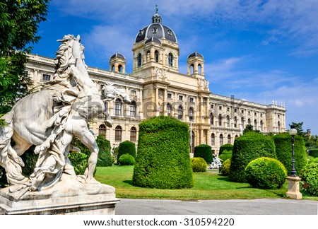 Vienna, Austria. Beautiful view of famous Naturhistorisches Museum (Natural History Museum) with park Maria-Theresien-Platz and sculpture in Vienna, Austria - stock photo