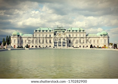 Vienna, Austria - Belvedere Palace building. The Old Town is a UNESCO World Heritage Site. Cross processed retro color tone. - stock photo