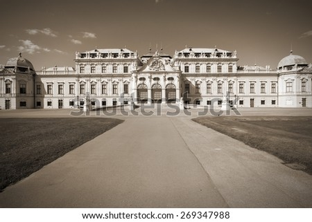 Vienna, Austria - Belvedere Palace building. The Old Town is a UNESCO World Heritage Site. Sepia tone - retro monochrome color style. - stock photo