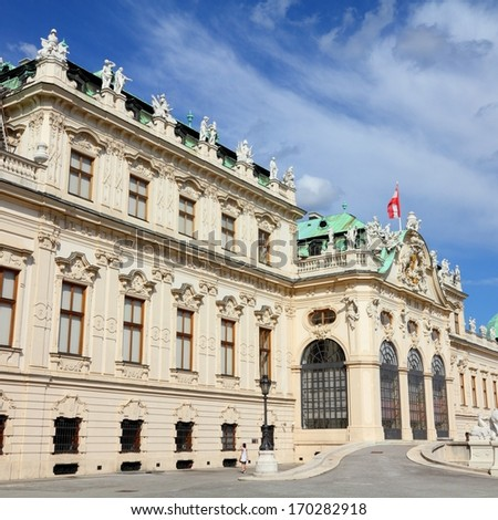 Vienna, Austria - Belvedere Palace building. The Old Town is a UNESCO World Heritage Site. Square composition. - stock photo