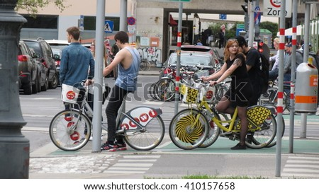 VIENNA, AUSTRIA - CIRCA APRIL 2016: bicycle riders in the very city centre of Vienna - stock photo