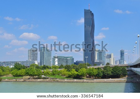 Vienna, Austria. Danube river embankment in a sunny summer day