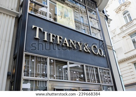 VIENNA, AUSTRIA - DECEMBER 9, 2014: Detail of Tiffany co. shop in Vienna, Austria. It  is an American multinational luxury jewelry and specialty retailer founded at 1837. - stock photo