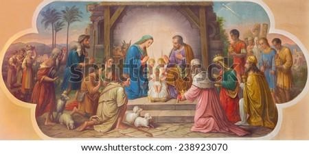 VIENNA, AUSTRIA - DECEMBER 17, 2014: Fresco of Nativity scene by A. Muhl the older from 20. cent. in Erloserkirche church. - stock photo