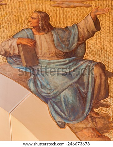 VIENNA, AUSTRIA - DECEMBER 17, 2014: The fresco of prophet Daniel from 20. cent in the church Muttergotteskirche. - stock photo