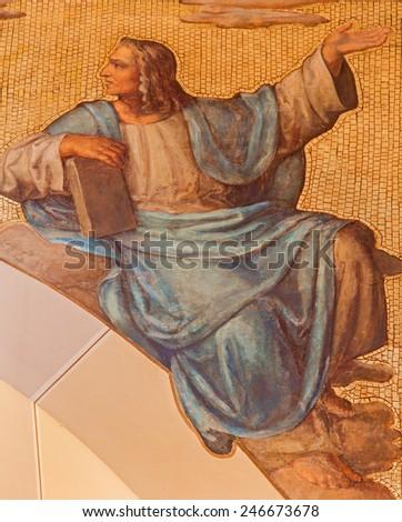 VIENNA, AUSTRIA - DECEMBER 17, 2014: The fresco of prophet Daniel from 20. cent in the church Muttergotteskirche. - stock photo