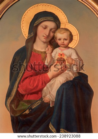 VIENNA, AUSTRIA - DECEMBER 17, 2014: The Madonna paint on the side altar of Sacre Coeur church by Anna Maria von Oer (1846-1929). - stock photo