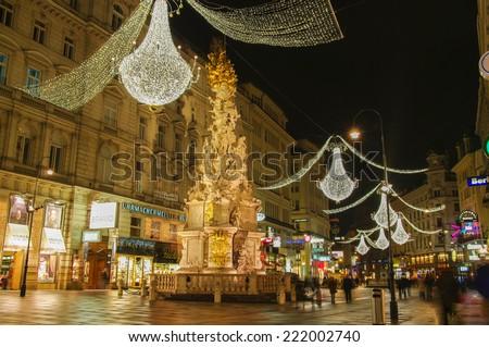 VIENNA, AUSTRIA - December 11, 2009: Vienna - famous Graben street. - stock photo