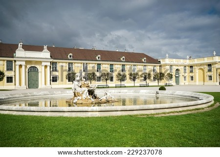 VIENNA, AUSTRIA/EUROPE - SEPTEMBER 23 : Danube, Inn, and Enns statues at the Schonbrunn Palace in Vienna on September 23, 2014
