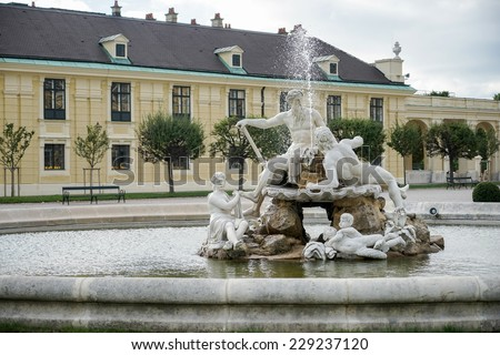 VIENNA, AUSTRIA/EUROPE - SEPTEMBER 23 : Galicia, Volhynia, and Transylvania statues at the Schonbrunn Palace in Vienna Austria on September 23, 2014 - stock photo
