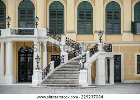 VIENNA, AUSTRIA/EUROPE - SEPTEMBER 23 : Schonbrunn Palace in Vienna Austria Austria on September 23, 2014 - stock photo