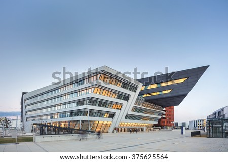 VIENNA, AUSTRIA - FEB 12: WU � Vienna University of Economics and Business by  architect Zaha Hadid with LC, Library and Learning Center on February 12, 2016. - stock photo