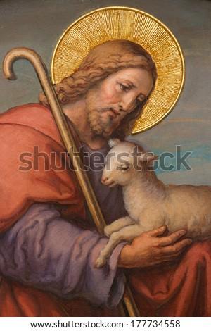 VIENNA, AUSTRIA - FEBRUARY 17, 2014: Fresco of Jesus as good shepherd by Josef Kastner 1906 - 1911 in Carmelites church in Dobling. - stock photo