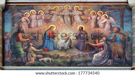 VIENNA, AUSTRIA - FEBRUARY 17, 2014: Fresco of Nativity scene by Josef Kastner from 1906 - 1911 in Carmelites church in Dobling. - stock photo