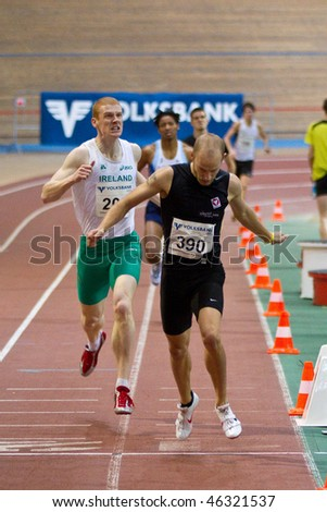 VIENNA,  AUSTRIA - FEBRUARY 2: Indoor track and field meeting. Andreas Rapatz (Austria) wins the men's 800m race on February 2, 2010 in Vienna, Austria.