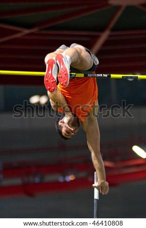 VIENNA,  AUSTRIA - FEBRUARY 2: Indoor track and field meeting. Jan Kudlicka (Czech Republic) places 2nd in the men's pole vault event on February 2, 2010 in Vienna, Austria. - stock photo